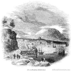 Bergen, Norway. This picture was taken from the periodical Le Magasin Pittoresque, Paris, 1840. Oldbookillustrations.com/Creative Commons.